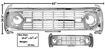 Picture of GRILLE 1966-68 CHROME NO LOGO : 3725C BRONCO 66-68