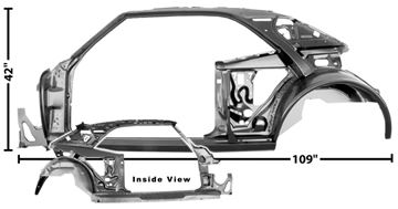 Picture of QUARTER/DOOR FRAME ASSY LH 67 COUPE : 1021B CAMARO 67-67