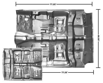 Picture of FLOOR PAN COMPLETE 64-67 W/BRACES : 1462WA CHEVELLE 64-67