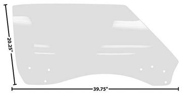 Picture of DOOR GLASS RH 68-69 CP/CONVT. CLEAR 68-69 : 1076EW CAMARO 68-69